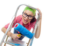 House painter woman Royalty Free Stock Image