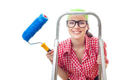 House painter woman. Close-up smile woman with roller ready for renovating or wall painting, isolated on white Stock Images