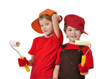 House painters. Two little messy house painters Stock Photo
