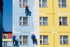 House painters. Paint the facade of building Royalty Free Stock Images