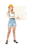 House painters  holds blank canvas Stock Image