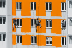 House painters. Paint the facade of building Stock Photo
