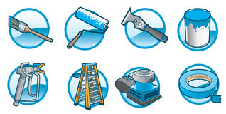 House Painting Icons. Icons that include the tools and materials to paint a house vector illustration