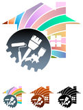 House painting. Illustrated logo design Stock Photos