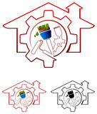 House painting. Illustrated logo design Stock Images