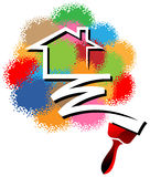 House painting logo. Illustrated house painting logo design Royalty Free Stock Image