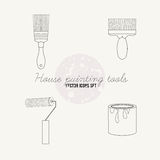 House painting tools vector icon set. Roller, paintbrush, paint Royalty Free Stock Image