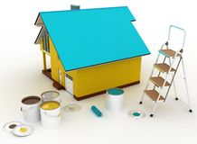 House with paints and step-ladder Stock Photography