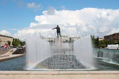 Fountains on Moscow Square. St. Petersburg. stock images