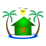 House with palm tree Stock Photography