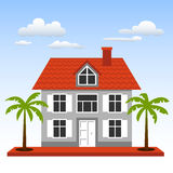 House, palms and clouds on a blue sky background Stock Images