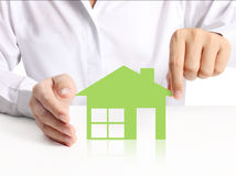House  in hand businessmen Stock Photo