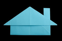 House paper made folded origami style Stock Photos