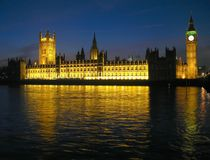 House of Parliament 04, London. House of the Parliament (also known as Palace of Westminster), London, UK, reflecting in the waters of Thames River. The current Royalty Free Stock Images