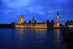 House of parliament. London view at dusk from tamesis river Stock Photo