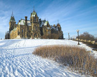House of Parliament. On a snowy hill with a blue sky background, Ottawa, Canada Stock Photography