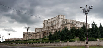 House of Parliament. People's House in Bucharest (Casa Popurului in romanian) is the world's largest civilian administrative building royalty free stock photos