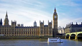 House of Parliament, Big Ben with boat on Thames river stock video