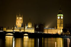 House of Parliament and Big Ben at Night Royalty Free Stock Photos