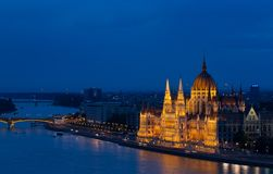 House of parliament Budapest at dusk Royalty Free Stock Photo