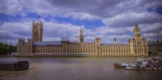 House of Parliament. Horizontal view of the House of Parliament from river Thames, Westminster, London, England Stock Photo