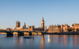 House of Parliament in London at sunrise stock image