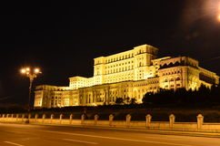 House of Parliament at night, Bucharest, Romania. The parliament house in bucharest, one of the biggest buildings in the world, at night royalty free stock photography
