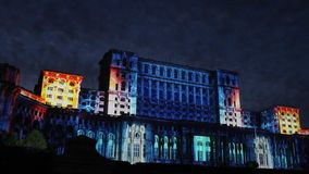 House of Parliament - night in Bucharest, Romania stock video