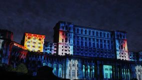 House of Parliament - night in Bucharest, Romania stock footage