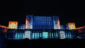 House of Parliament - night in Bucharest, Romania stock video footage