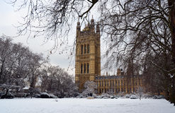 House of Parliament with snow, London Royalty Free Stock Photography