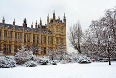 House of Parliament & snow, London. Snow covered garden of the House of Parliament, Westminster, London with detail of the building Stock Images