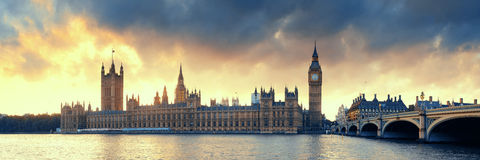 House of Parliament. Sunset panorama in Westminster in London Stock Photos