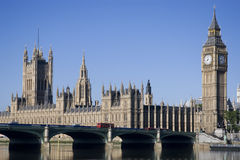 House of Parliament and Thames. London House of Parliament on blue sky Royalty Free Stock Photography