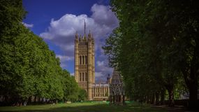 House of Parliament. Westminster, London, England. Viewed from the garden Stock Photos