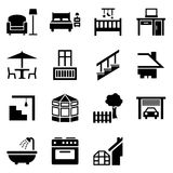 House parts icons. Icon set with 15 vector symbols representing different parts of the house Stock Illustration