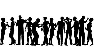 House party. Editable  silhouettes of men and women standing at a party with every person as a separate object Stock Photography