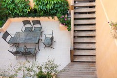 House patio. With staircase and furnitures royalty free stock photography