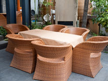 House patio. With wicker sofas and table royalty free stock photography