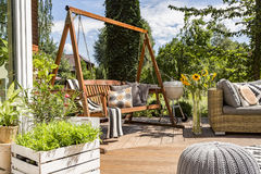 House patio with the garden swing. Shot of a wooden garden swing in a house terrace full of plants and flowers Royalty Free Stock Photography