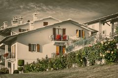 House with patio from the mountain village of Italy. Stock Images