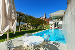 House, patio with pool Royalty Free Stock Image