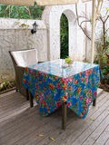 House patio with table and chair. At Xiamen, China royalty free stock image