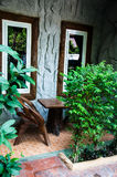 House patio with wooden table. And chairs royalty free stock photo