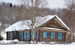 The house of the peasant in Russian village. Royalty Free Stock Photography