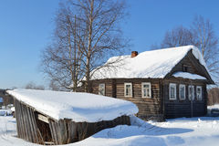 The house of the peasant in Russian village. Stock Photo