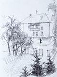 House, pencil drawing Royalty Free Stock Image