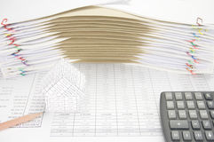 House and pencil on finance account have envelope between paperwork Stock Photos
