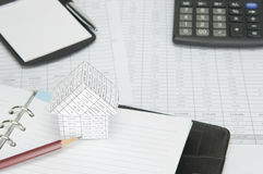 House and pencil on notebook Stock Photos
