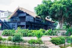 House of people at Daklak province, Vietnam. Houses usually make by wood Stock Photos